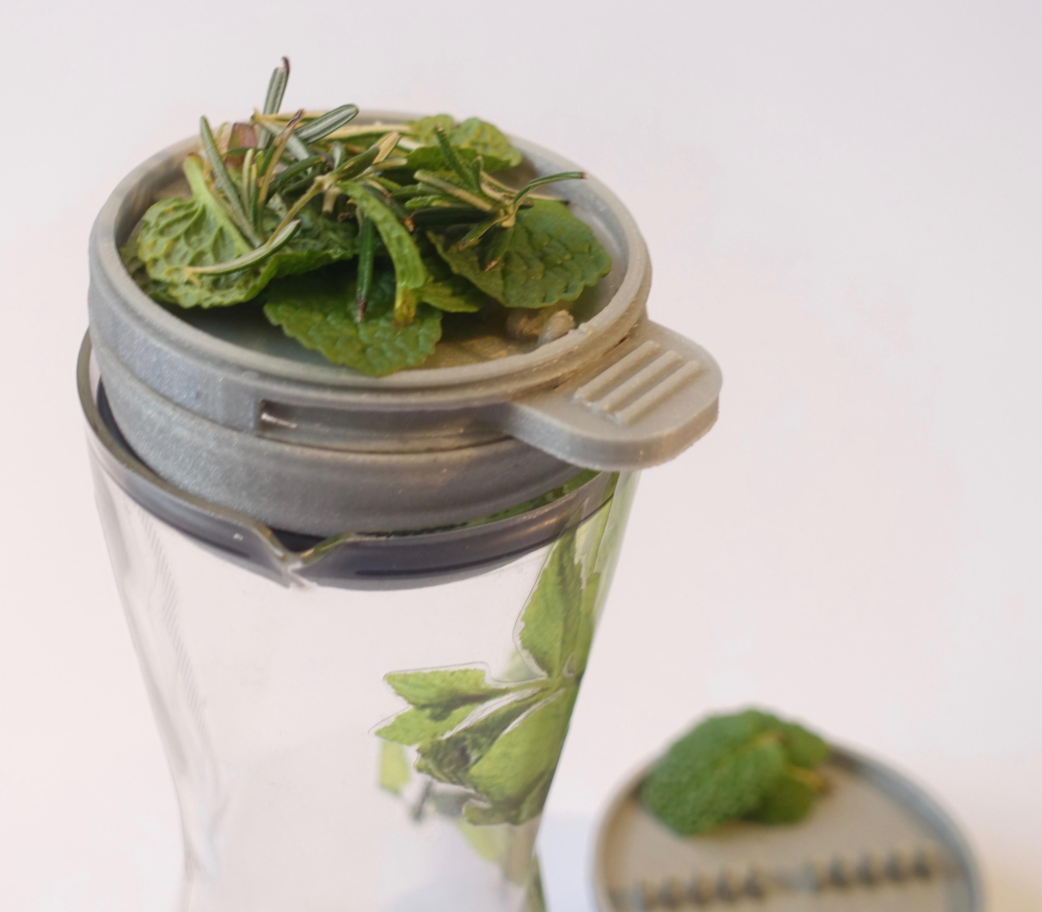 Placing herbs in lid